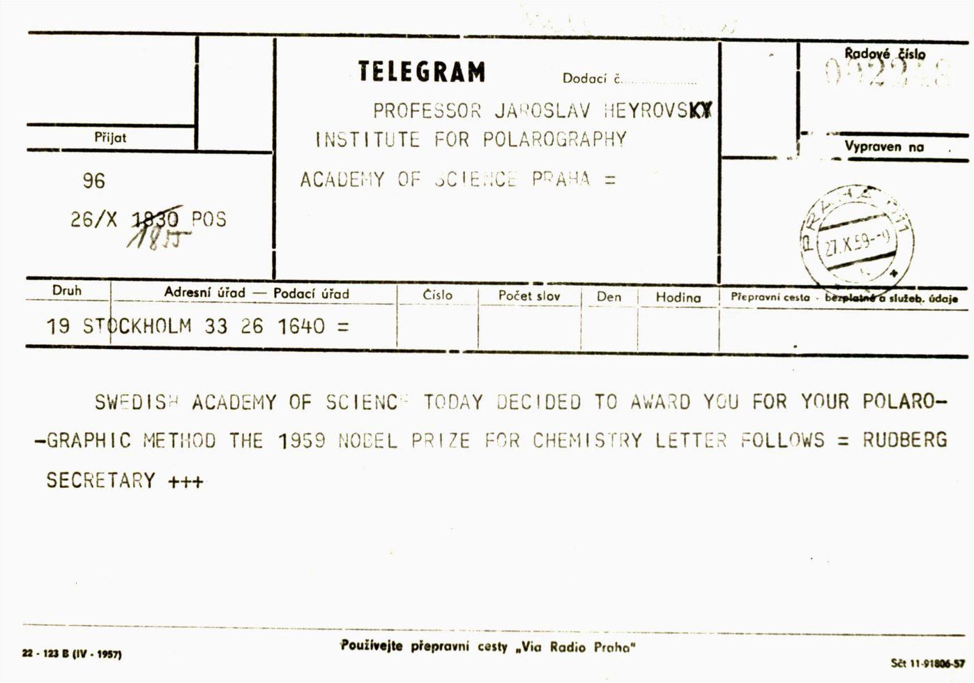 Telegram ze Stockholmu s oznámením o udělení Nobelovy ceny.