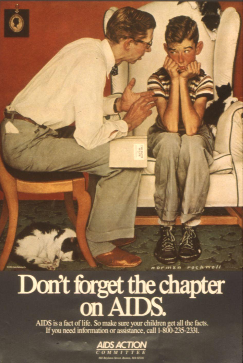 Dobové plakáty používané při osvětových kampaních týkajících se onemocnění AIDS.